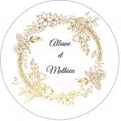 Les 24 stickers personnalisés couronne de fleurs or
