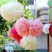 La fleur pompon en papier 20cm, 30cm, 38cm