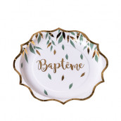 Les 8 assiettes en carton baptême champêtre