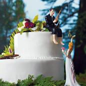 La figurine de mariage le marié à la pêche humoristique