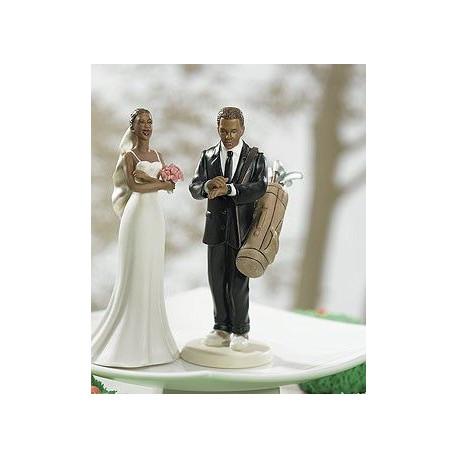 la figurine le mari jouant au golf noir - Figurine Mariage Mixte
