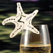 Les 6 marque-places étoile de mer sur verre