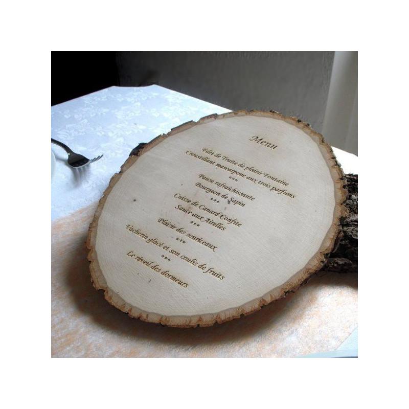 Menu grav sur rondin de bois personnalis - Rondin de bois mariage ...