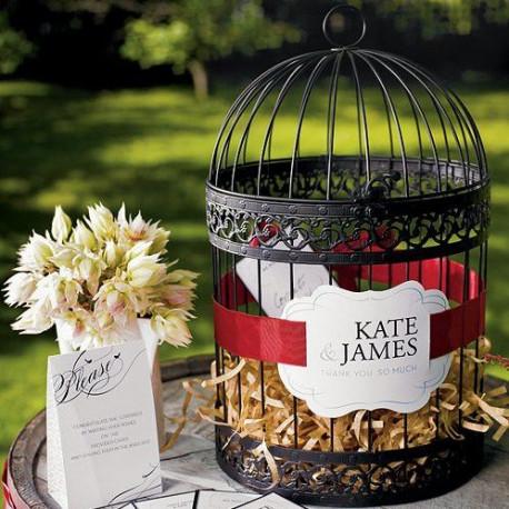 Urne mariage cage oiseaux noire - Urne de mariage originale ...