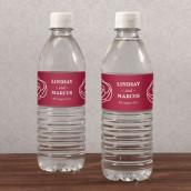 Les 12 étiquettes à bouteille d'eau motif rose