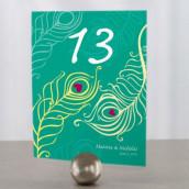 Les 12 numéros de table plume de paon