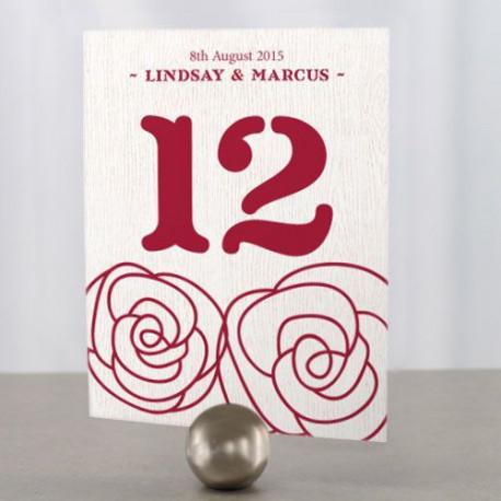 Les 12 numéros de table rose