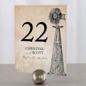 Les 12 numéros de table rustique