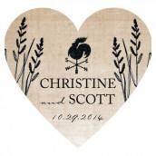 Le sticker personnalisé coeur rustique