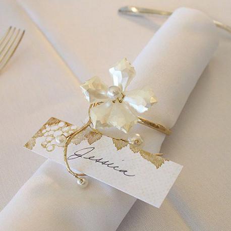 Les 8 ronds de serviette fleur en perles et or