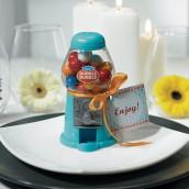 Le mini distributeur à boules de gum bleu