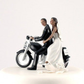 La figurine de mariage moto couple noir