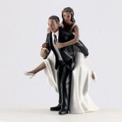 La figurine mariage rugby couple noir