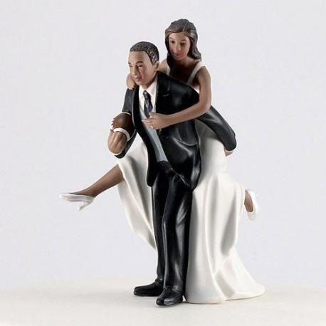 Figurine Mariage Rugby Noir Pour Gateau