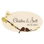 Le sticker personnalisé oiseaux pour voiure des mariés