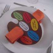 Décoration de mariage sur le thème de la peinture : Marque place vase éprouvette et menu palette