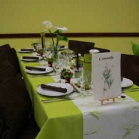 La décoration d'Elodie et de David : les plantes médicinales en chocolat et vert anis