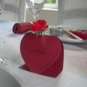Décoration mariage Amour : Marque place philtre d'amour et menu coeur transparent