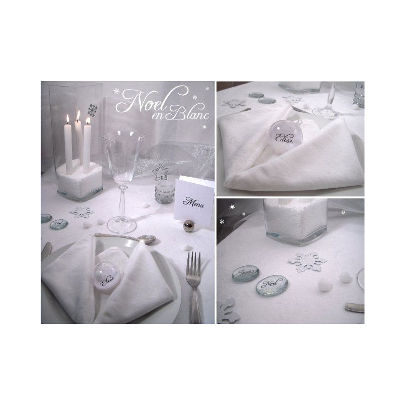 Table noel blanc argent for Table de noel argent et blanc