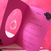 Décoration de mariage sur le thème baroque : Marque place médaillon et menu baroque