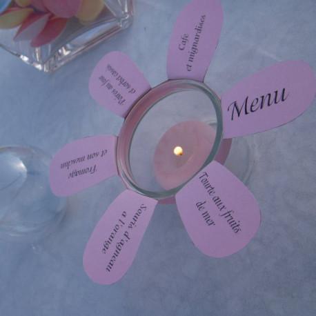 Menu fleur photophore diy mariage - Decoration de table theme papillon ...