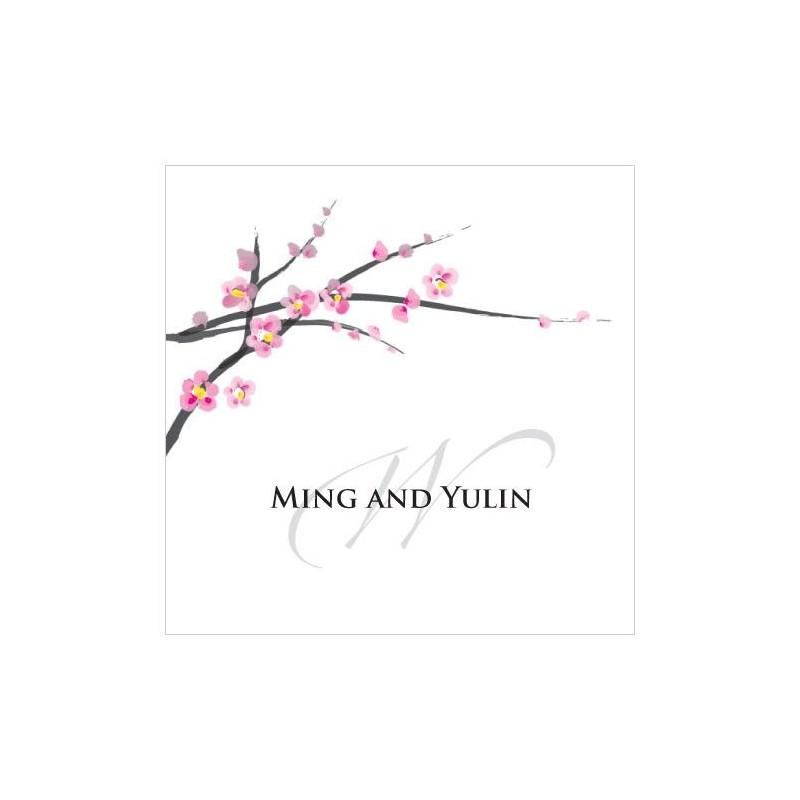 Tiquette mariage personnalis fleur cerisier - Cerisier en fleur dessin ...