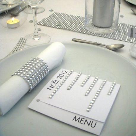 Decoration table noel strass blanc argent - Table de noel blanc et argent ...