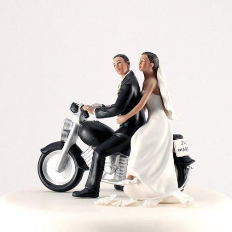 figurine mariage moto couple brun. Black Bedroom Furniture Sets. Home Design Ideas