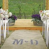 Le tapis d'église en toile de jute personnalisé initiale