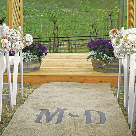 tapis mariage toile de jute personnalise. Black Bedroom Furniture Sets. Home Design Ideas