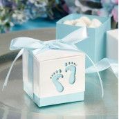 Les 12 boîtes à dragées pied bébé bleu