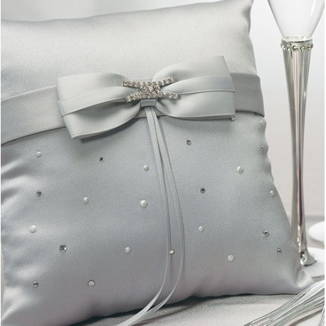 coussin alliances mariage gris strass. Black Bedroom Furniture Sets. Home Design Ideas
