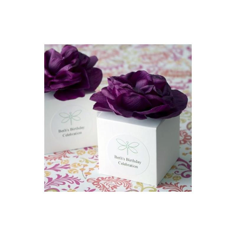 boite a dragees cube avec fleur. Black Bedroom Furniture Sets. Home Design Ideas