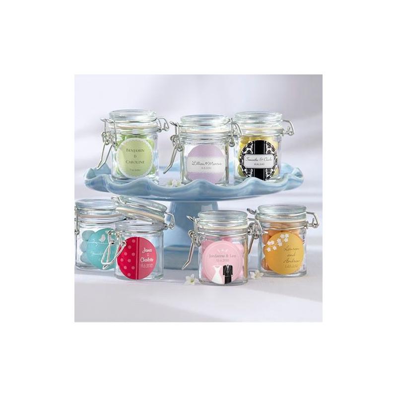 Mini pot en verre dragees deco mariage for Decoration bocal en verre