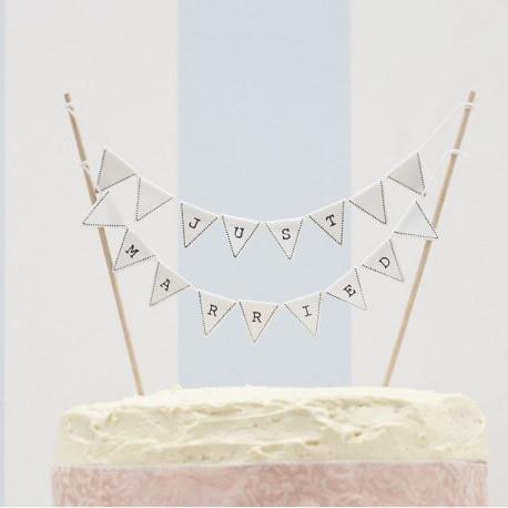 La mini bannière just married pour gâteau