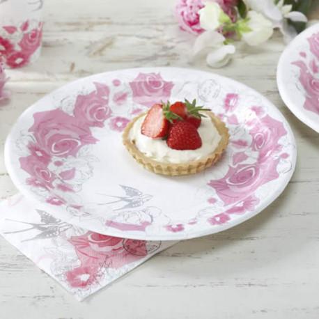 assiette carton roses vaisselle jetable. Black Bedroom Furniture Sets. Home Design Ideas