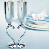 Les 2 coupes à champagne coeur entrelacé argent