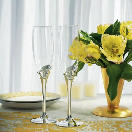 Les 2 flûtes à champagne coeur entrelacé