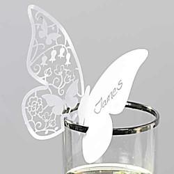 Les 10 marque places papillon en dentelle de papier