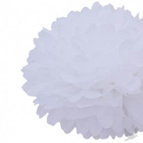 La fleur pompon en papier blanc 20cm, 30cm, 40cm