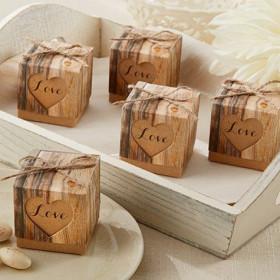 La boite à dragées rustique bois cadeau d'invités