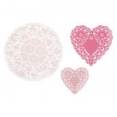 Les 3 napperons en papier rose