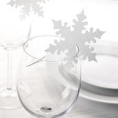 Les 10 marque-places flocon sur verre