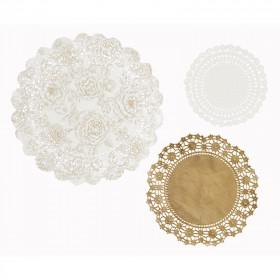 Les 24 napperons en papier blanc et or
