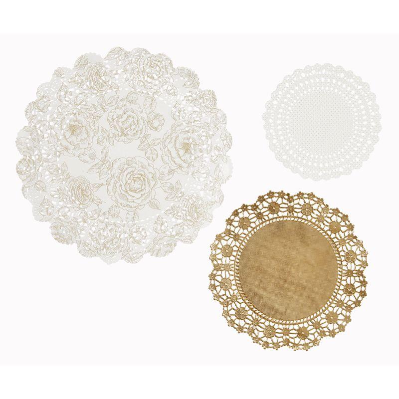 napperon en papier or et blanc