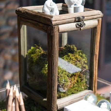 urne boite en bois et verre. Black Bedroom Furniture Sets. Home Design Ideas