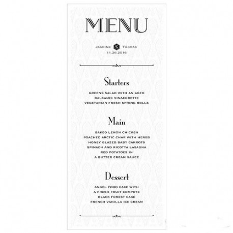 Les 6 cartes de menu opulence