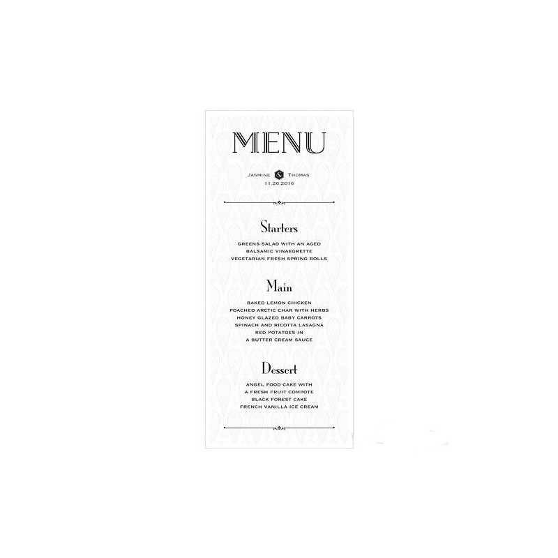carte menu personnalisable opulence