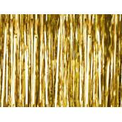 Le rideau de fils métallisés dorés