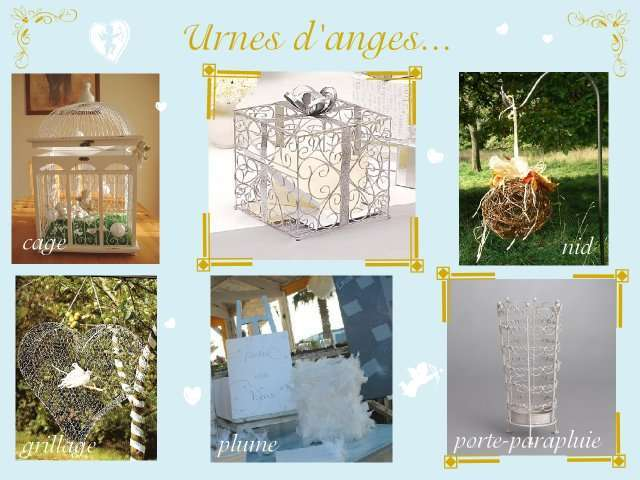 décoration mariage idées thème anges urne cage paquet cadeau nid en ...